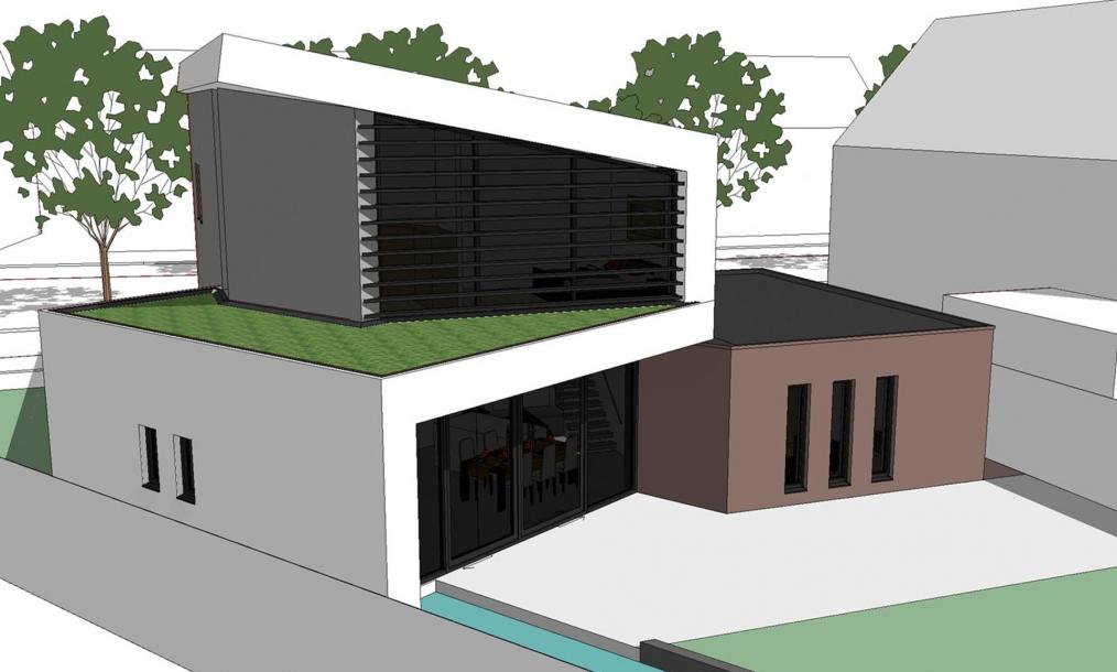 3D impressie moderne villa hoekkavel