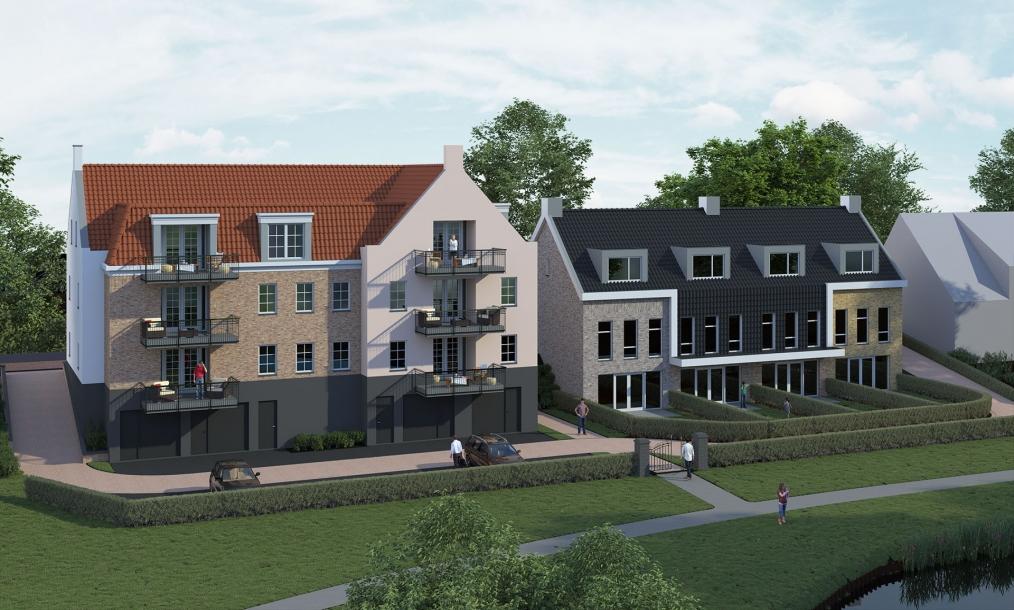 3D impressie achterkant energieneutrale dijkwoningen Zinkweg Oud-Beijerland