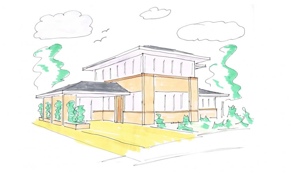 Impressie voorzijde energieneutrale villa