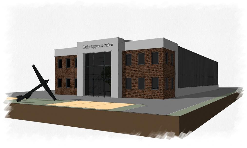 Impressie van eerste opzet kantoor en loods Marine Equipment Services Werkendam