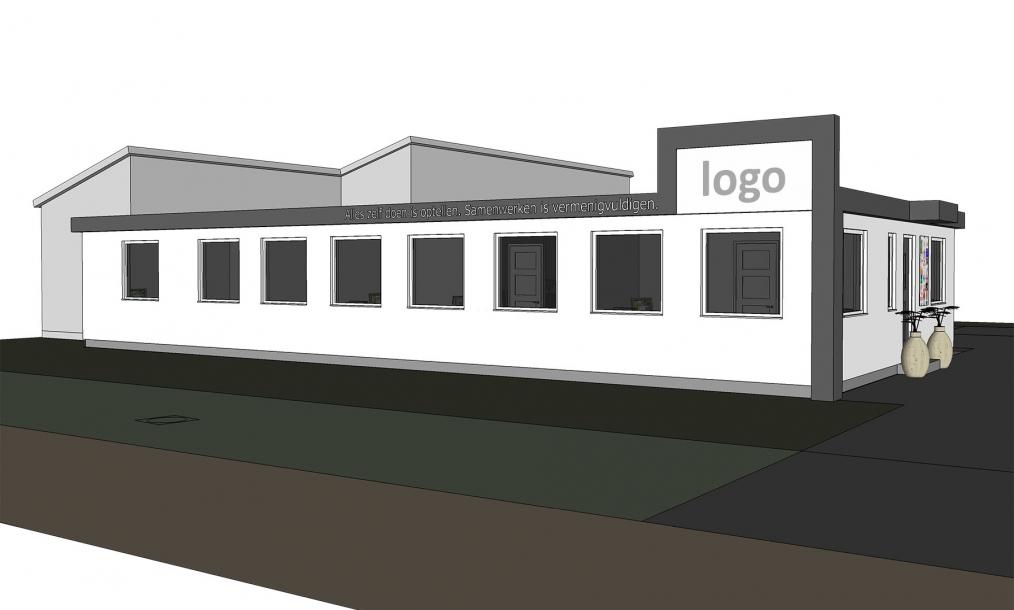 Impressie ontwerp verbouw van bedrijfspand naar kantoorpand