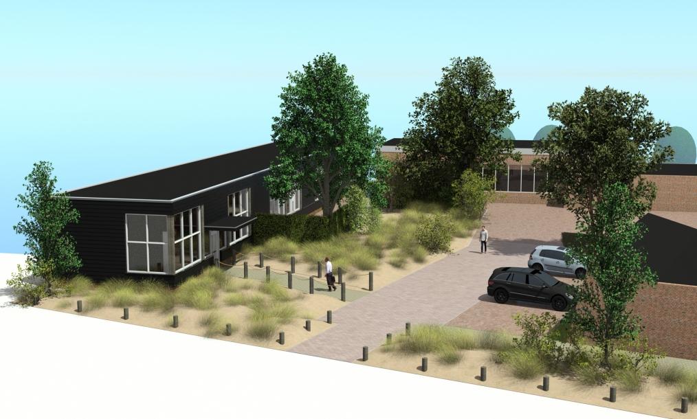 3D impressie van herontwikkeling loods naar representatief bedrijfsverzamelgebouw