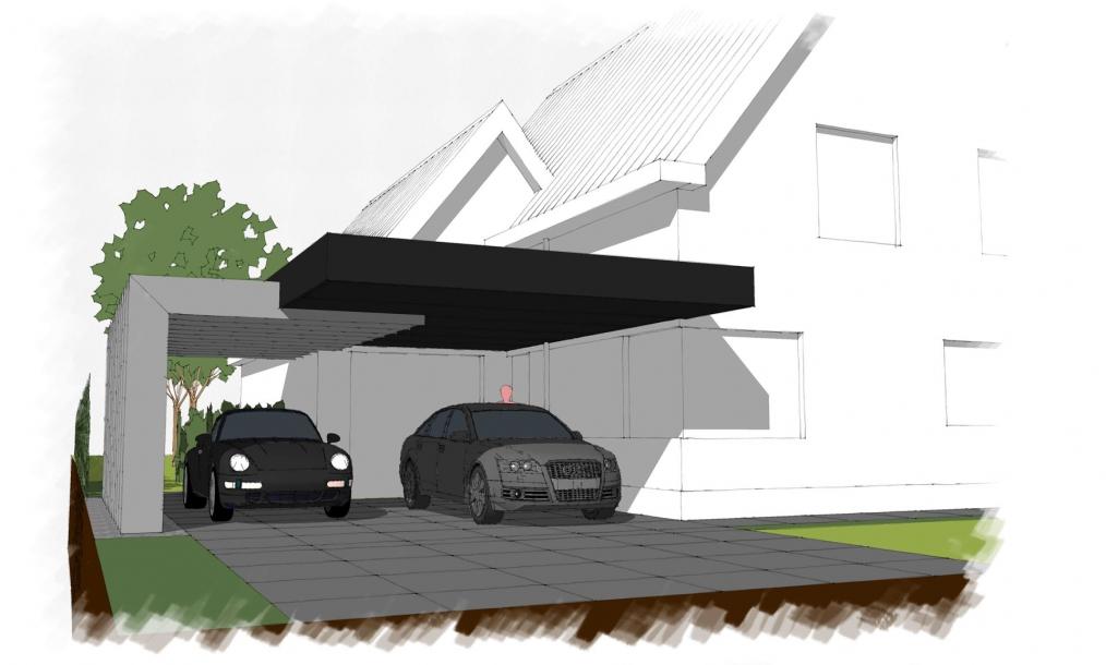 Bijzondere onder architectuur ontworpen carport aan voorzijde woning in de wijk Goese meer