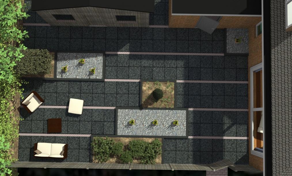 3D plattegrond van het tuinontwerp
