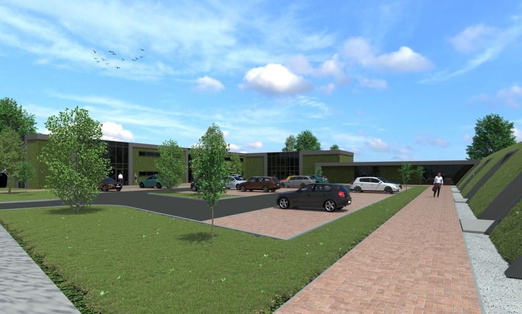 Herontwikkeling terrein met kantoren, bedrijfspanden parkeren en veel groen aan de Kleverskerkseweg te Middelburg