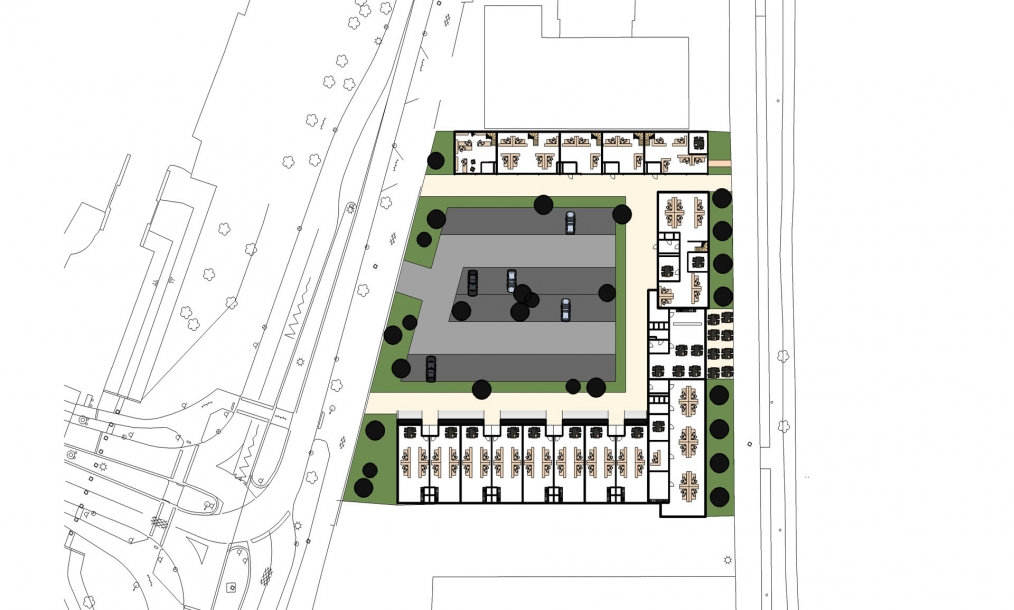 Plattegrond indeling nieuwe kantoorunits met horeca aan het kanaal door walcheren