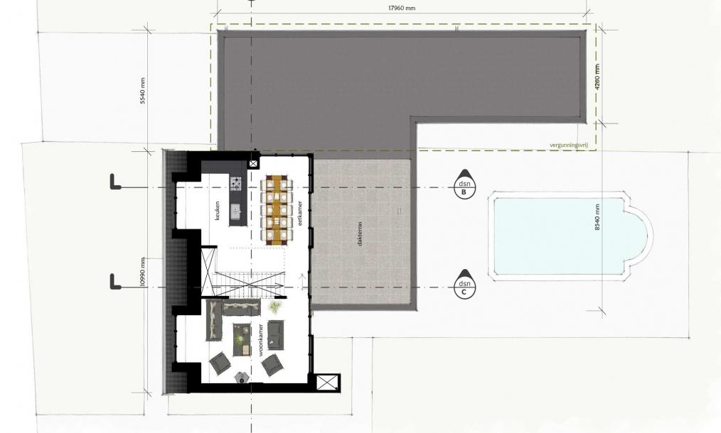 Eerste verdieping met leefgedeelte en zichtlijnen over de verschillende landerijen