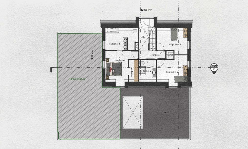 Verdieping met slaapkamers en badkamers onder de mansardekap