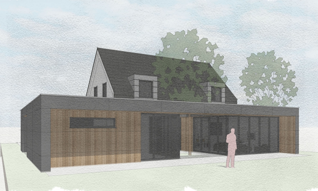 Achterkant energieneutrale woning met leefgedeelte rondom binnentuin en veel glas met overstekken