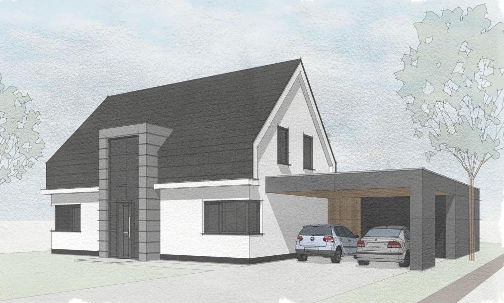 Voorkant energieneutrale moderne woning met mansardekap en carport