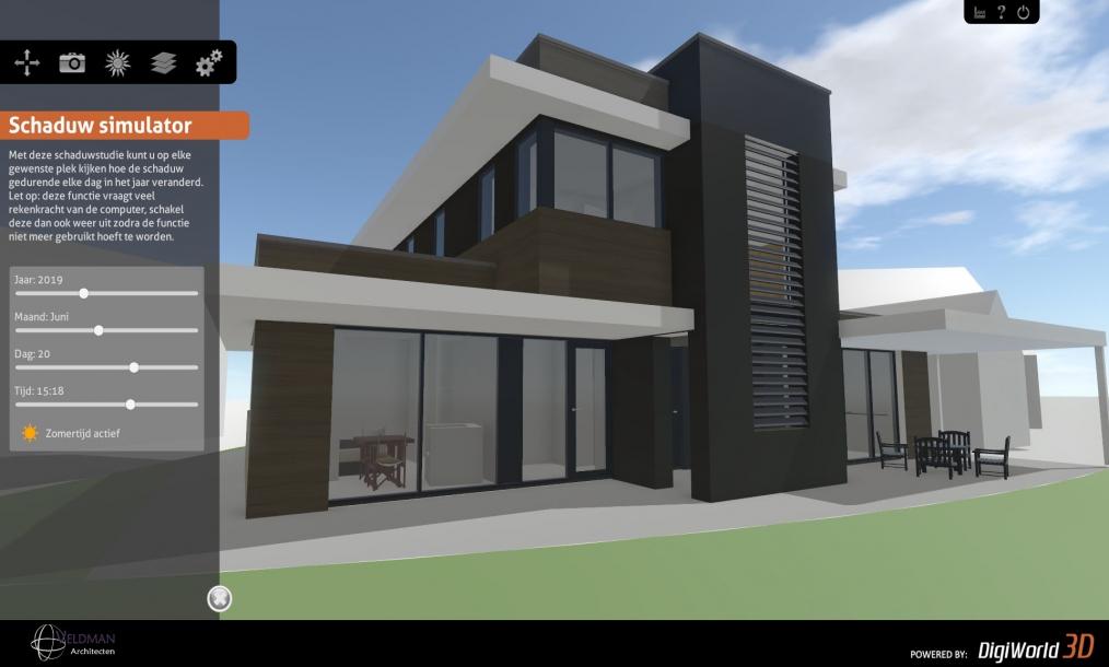 Interactief 3d model met schaduwstudie van moderne woning goese meer
