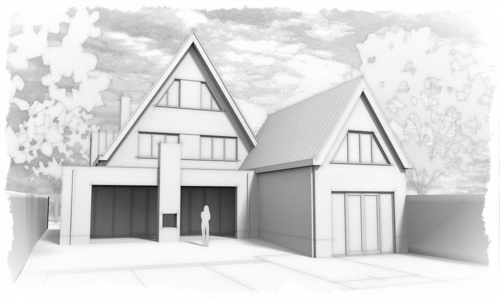 Schetsimpressie achterkant energieneutrale woning maar voorkant te verhuren recreatiewoning in het Singelgebied Domburg
