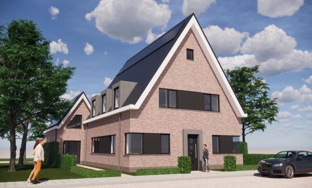 Voorzijde energieneutrale woning met recreatiewoning en zadeldaken in het project Singelgebied te Domburg (Zeeland)