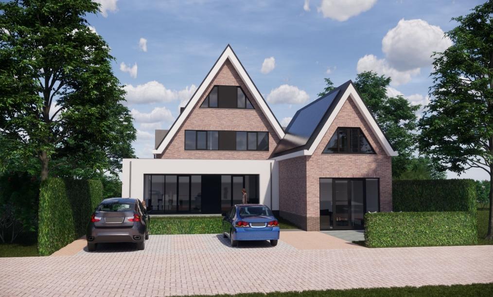 Achterkant van moderne energieneutrale woning met zadeldak in het Singelgebied Domburg