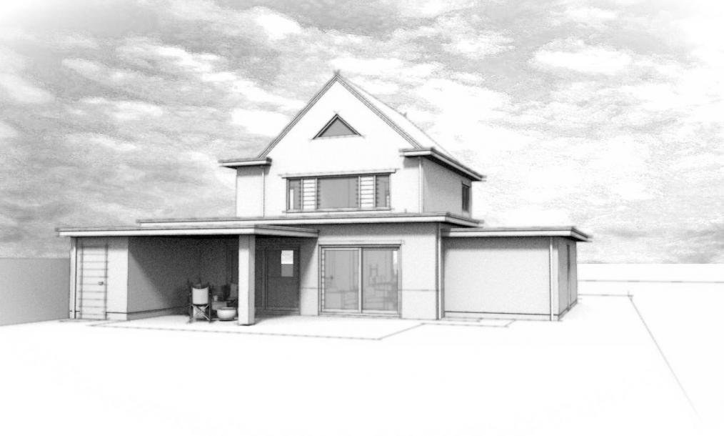 Schetsimpressie van ontwerp uitbouw woning met berging en garage