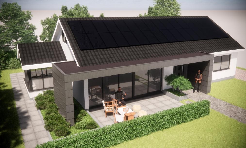 Jaren 70 woning energieneutraal gemaakt met overkapping als zonwering