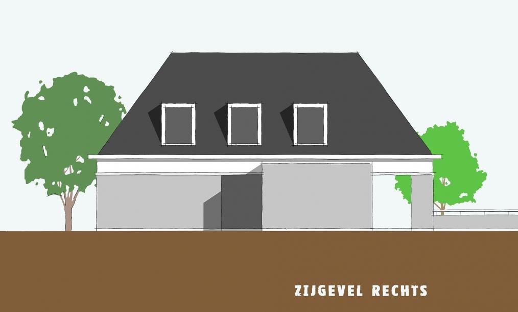 Zijgevel uit voorlopig ontwerp wonign Esschenweg Strijen