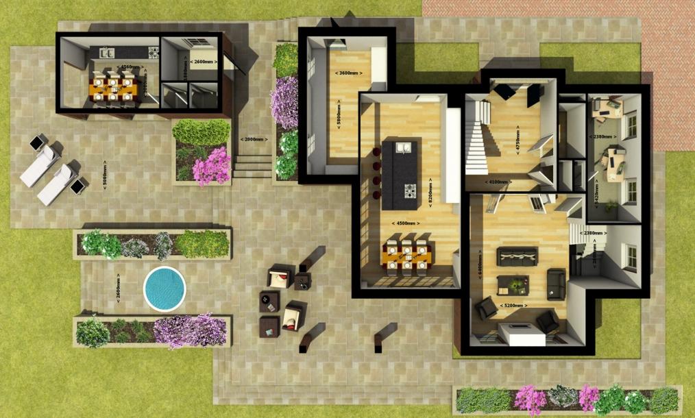 3D plattegrond beganegrond villa Ackerdijkseweg in Delfgauw